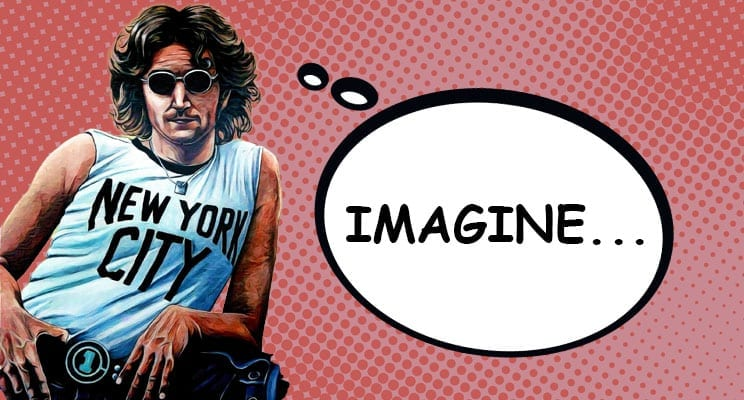 Cartoon of John Lennon thinking Imagine